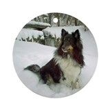 Collie christmas tri color Round Ornaments