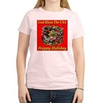 Happy Holiday Women's Pink T-Shirt