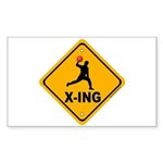 Dodgeball X-ing Rectangle Sticker 10 pk)