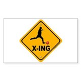 Kickball X-ing Rectangle Sticker 10 pk)