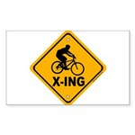 Cycle X-ing Rectangle Sticker 50 pk)