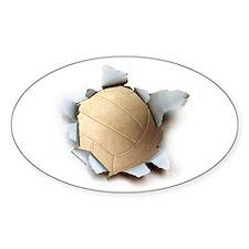 Volleyball Burster Oval Sticker (50 pk)