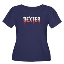 Dexter [text] Women's Plus Size Scoop Neck Dark T-