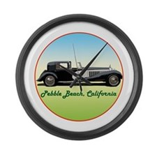 Funny Pebble beach california Large Wall Clock