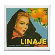Linaje Valencia Orange Crate Label Tile Coaster