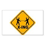 Fencer X-ing Rectangle Sticker 50 pk)