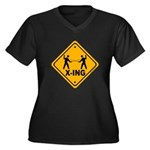 Fencer X-ing Women's Plus Size V-Neck Dark T-Shirt