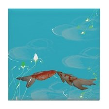 Koi Fish in Love Tile Coaster