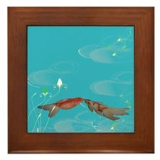 Koi Fish in Love Framed Tile