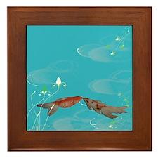 Koi Fish in Love Framed Tile