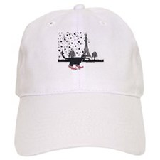 Tuxedo cat in Paris Baseball Cap