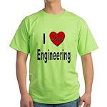 I Love Engineering Green T-Shirt