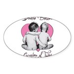grandma of twins Sticker (Oval 10 pk)