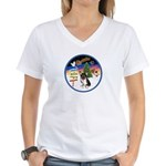 XmasSigns/Corgi Pup (Z) Women's V-Neck T-Shirt