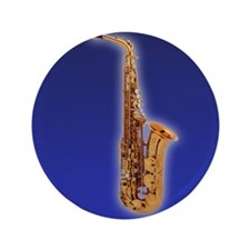 "Cute Saxaphone 3.5"" Button"
