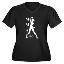 MMA Chic Women's Plus Size V-Neck Dark T-Shirt