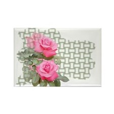 Pink Roses Rectangle Magnet