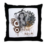 Tech noir pulp steampunk dame Throw Pillow