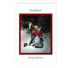 Child & Horse Glaedelig Jul Postcards (Pkg of