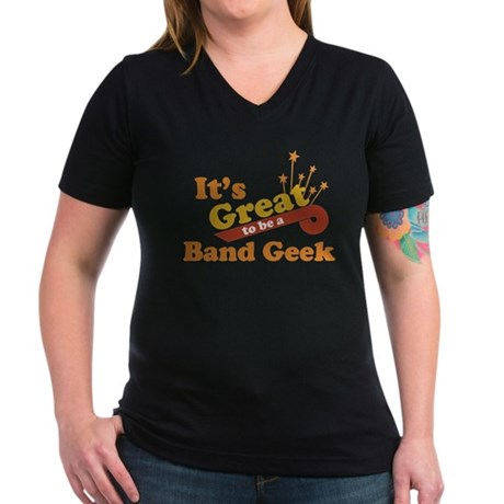 Band Geek Women's V-Neck Dark T-Shirt