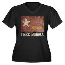 Free Burma Women's Plus Size V-Neck Dark T-Shirt