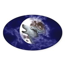Moon Wolf ~ Oval Decal