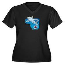 SHARK (18) Women's Plus Size V-Neck Dark T-Shirt