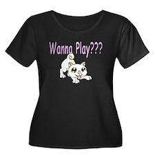 Shiba (Cream) Women Plus Size Dark T-Shirt