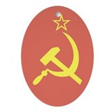 USSR Flag Oval Ornament