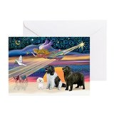XmasStar-2 Newfies+Bichon Greeting Cards (Pk of 20