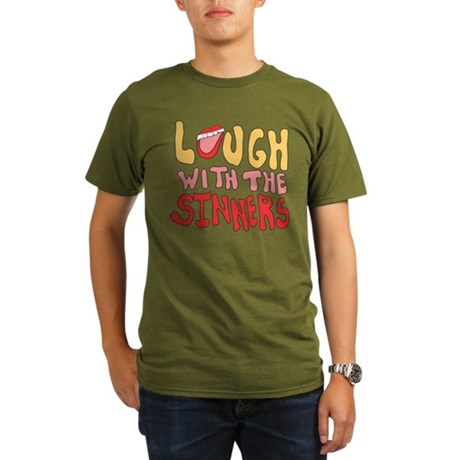 Laugh With The Sinners Organic Mens Dark T-Shirt