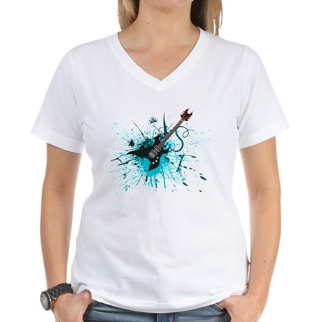 Graffiti Guitar Women's V-Neck T-Shirt