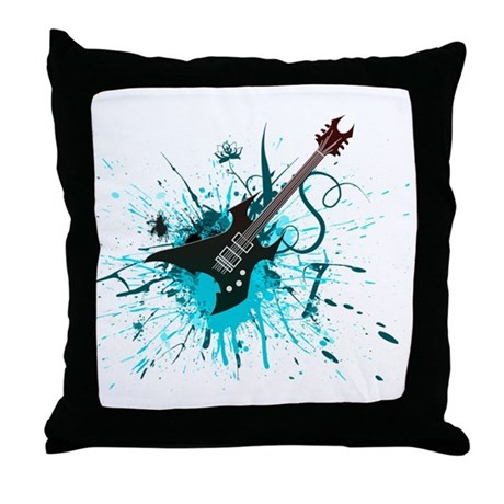 Graffiti Guitar Throw Pillow
