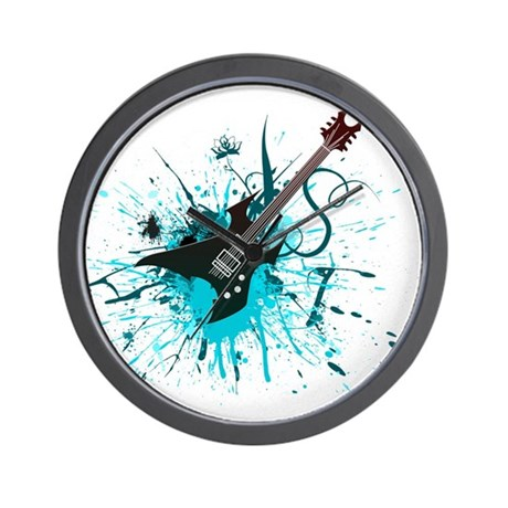 Graffiti Guitar Wall Clock