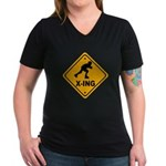 Roller Blade X-ing Women's V-Neck Dark T-Shirt
