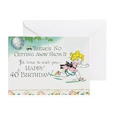 girlbeeyear40card Greeting Cards
