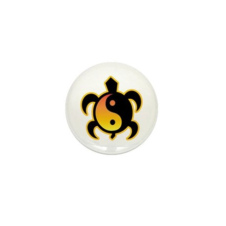 Gold Yin Yang Turtle Mini Button (10 pack)