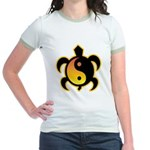 Gold Yin Yang Turtle Jr. Ringer T-Shirt