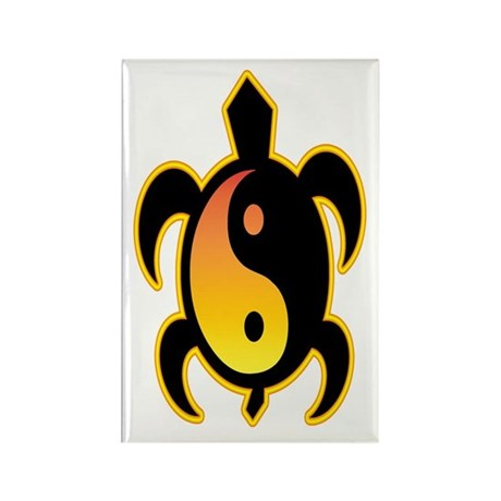 Gold Yin Yang Turtle Rectangle Magnet