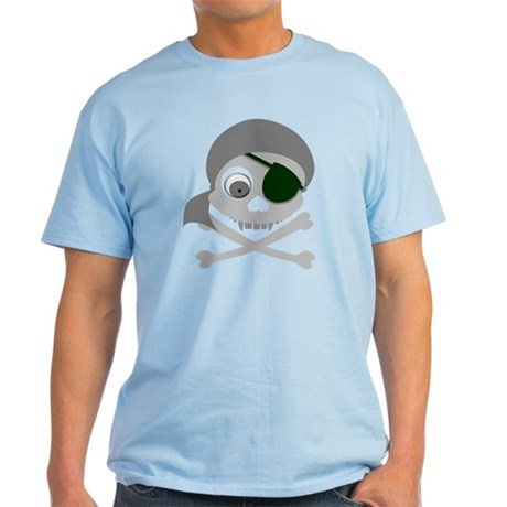 Gray Pirate Skull Light T-Shirt