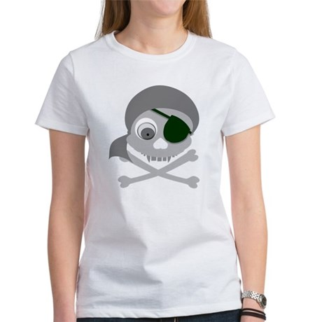Gray Pirate Skull Women's T-Shirt