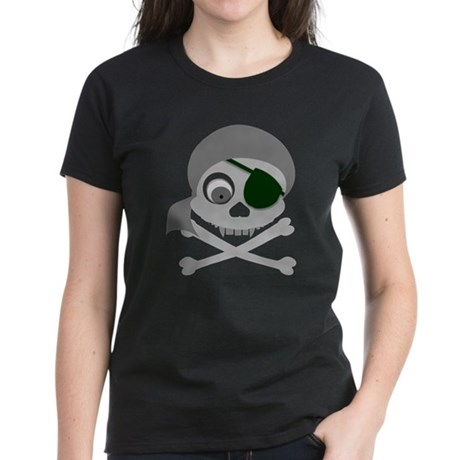 Gray Pirate Skull Women's Dark T-Shirt