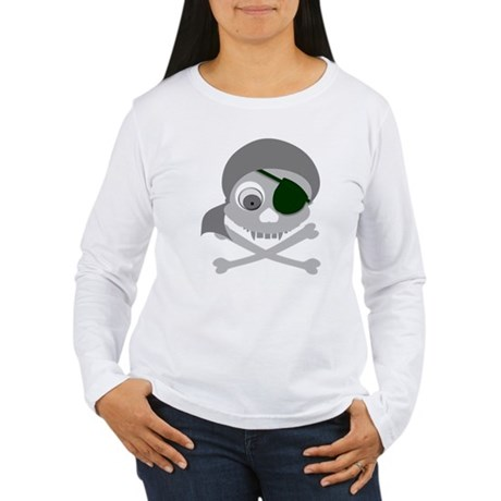 Gray Pirate Skull Women's Long Sleeve T-Shirt