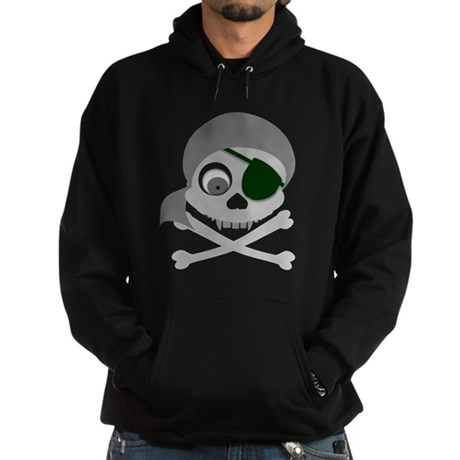 Gray Pirate Skull Hoodie (dark)