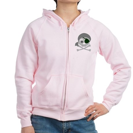 Gray Pirate Skull Women's Zip Hoodie