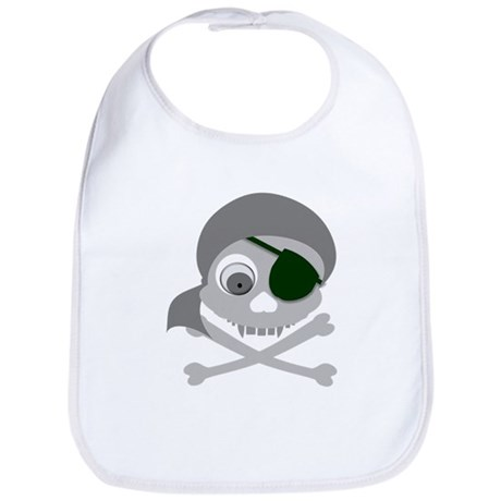 Gray Pirate Skull Bib