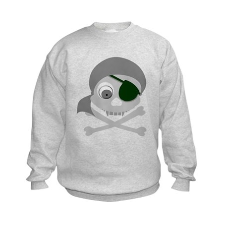 Gray Pirate Skull Kids Sweatshirt