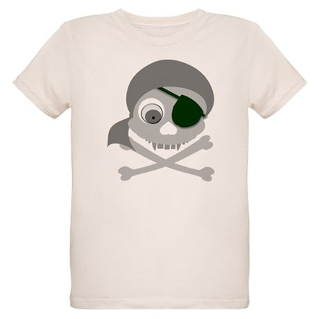 Gray Pirate Skull Organic Kids T-Shirt
