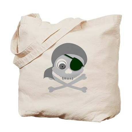 Gray Pirate Skull Tote Bag