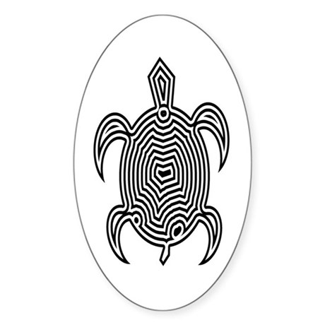 Labyrinth Turtle Sticker (Oval)